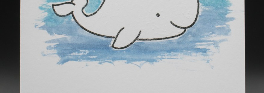 Stamped whale birthday card